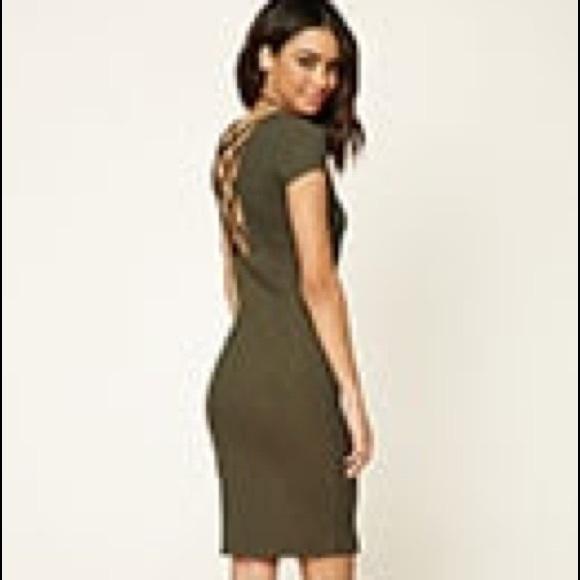 fc84d06588 Forever 21 Dresses   Skirts - Forever 21 Green Criss-Cross Back Bodycon  Dress